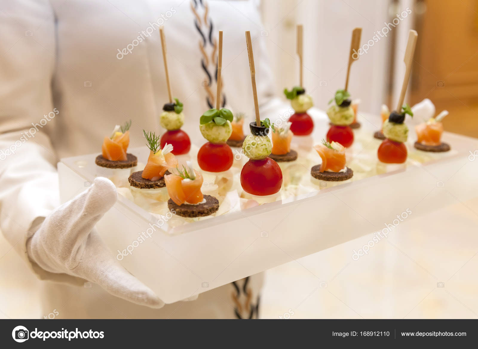finger food canapes presented