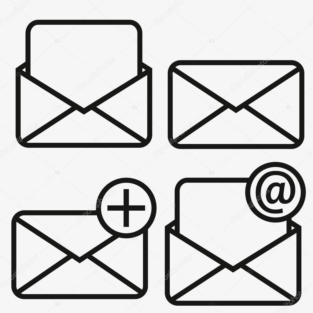 Icône d'email contour isolé sur fond gris. Pictogramme