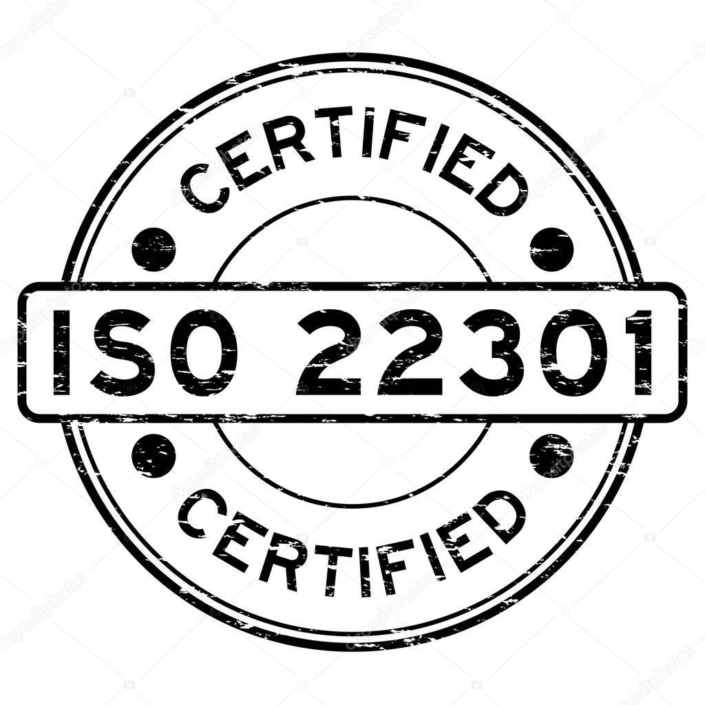 Grunge black ISO 22301 certified round rubber stamp