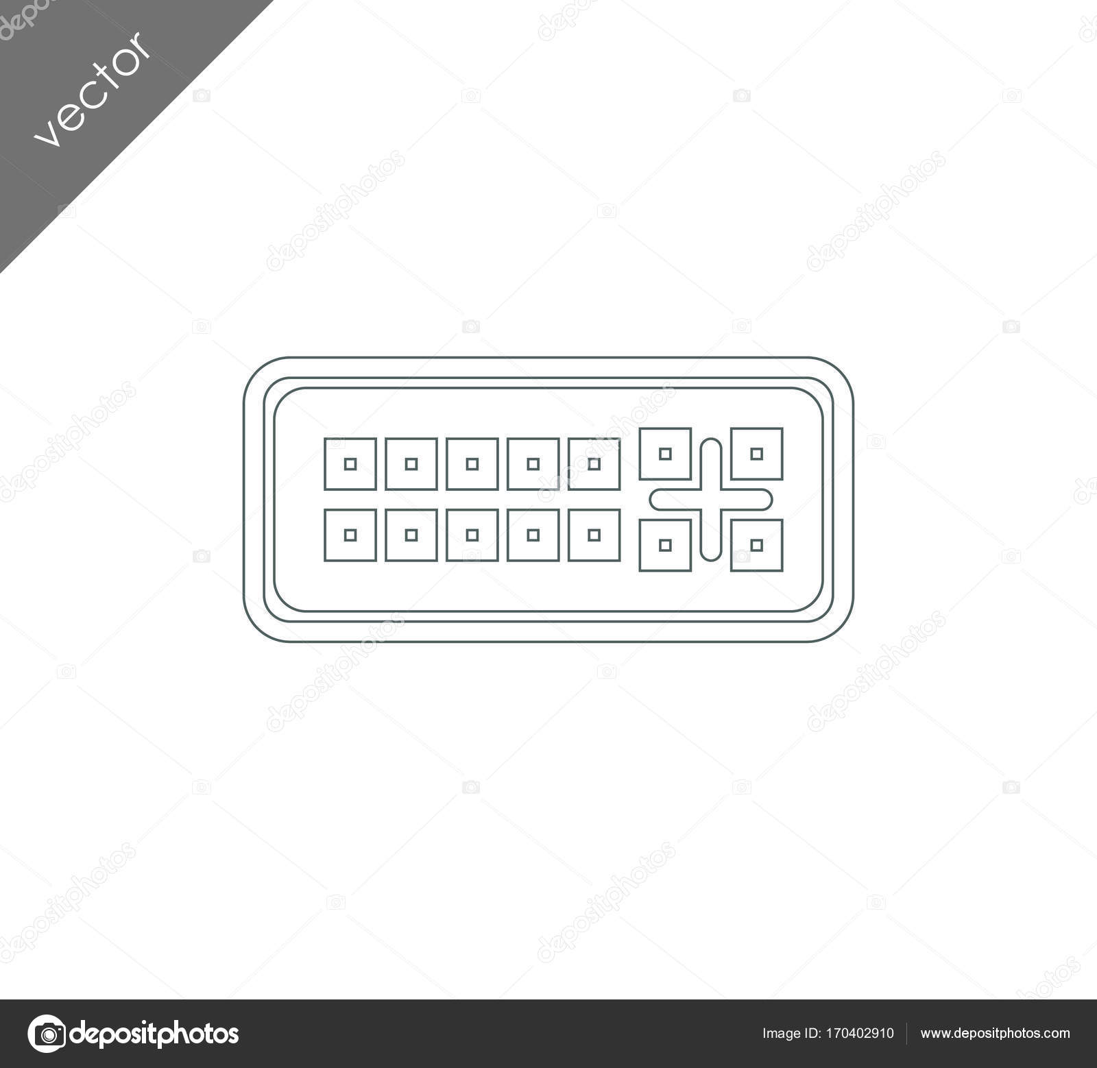 hight resolution of dvi port icon stock vector