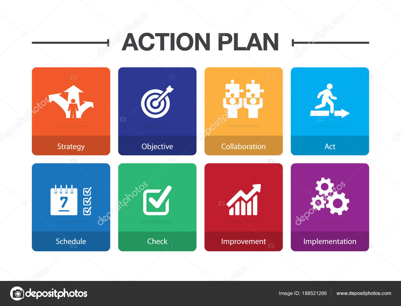 Action Plan Infographic Icon Set — Stock Vector