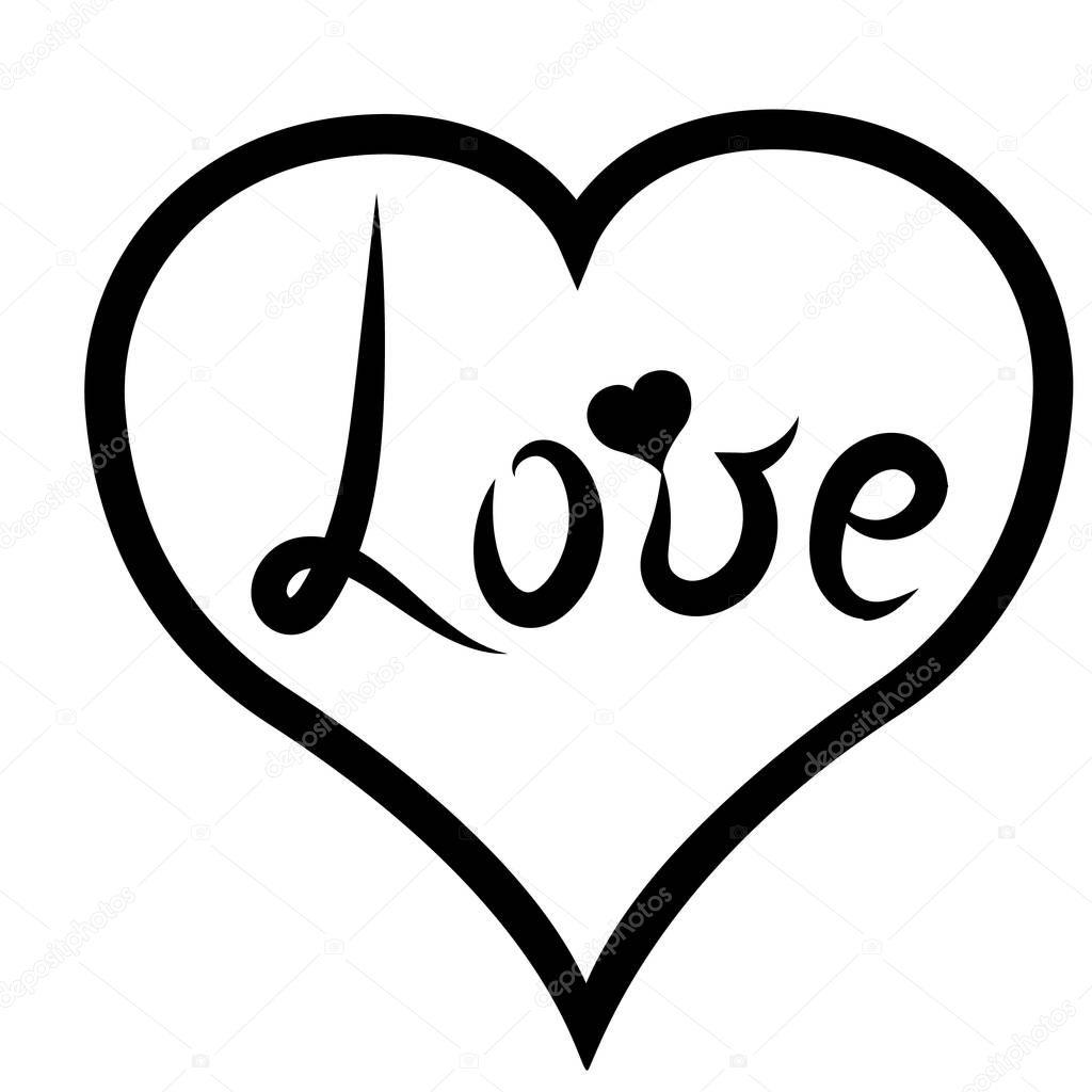 Download Escritura a mano. Letras negro palabra 'Love' en corazón ...
