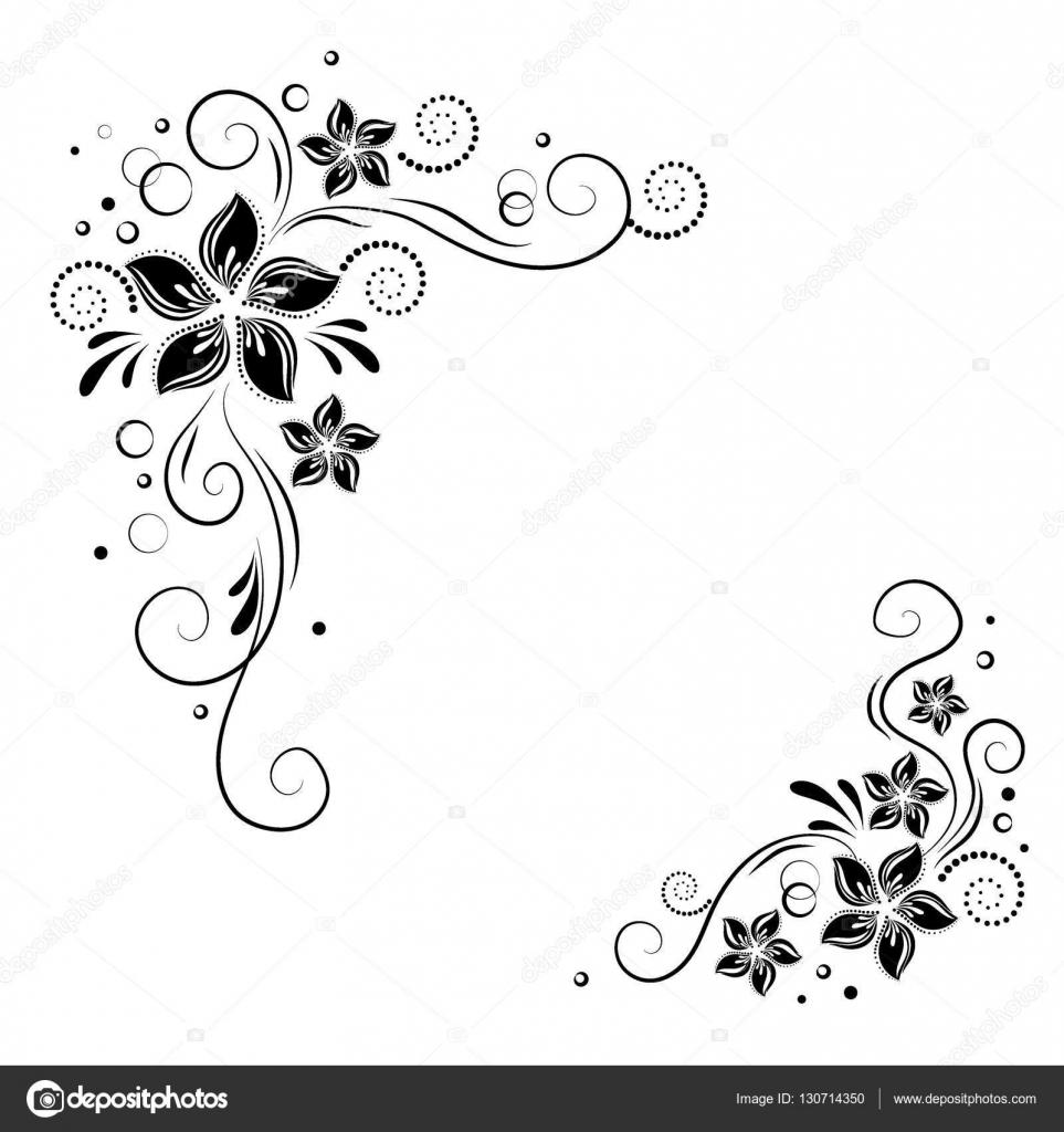 Coin floral design. L'ornement de fleurs noires sur fond