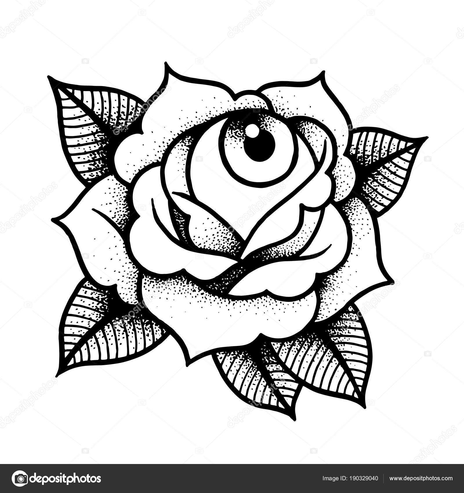 Vector Old School Tattoo Rose Vieja Escuela Rosa Tatuaje Con Ojo
