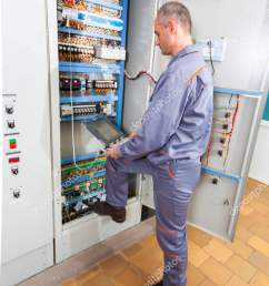electrician testing industrial machine electrician builder engineer screwing equipment in fuse box male electrician [ 1067 x 1700 Pixel ]