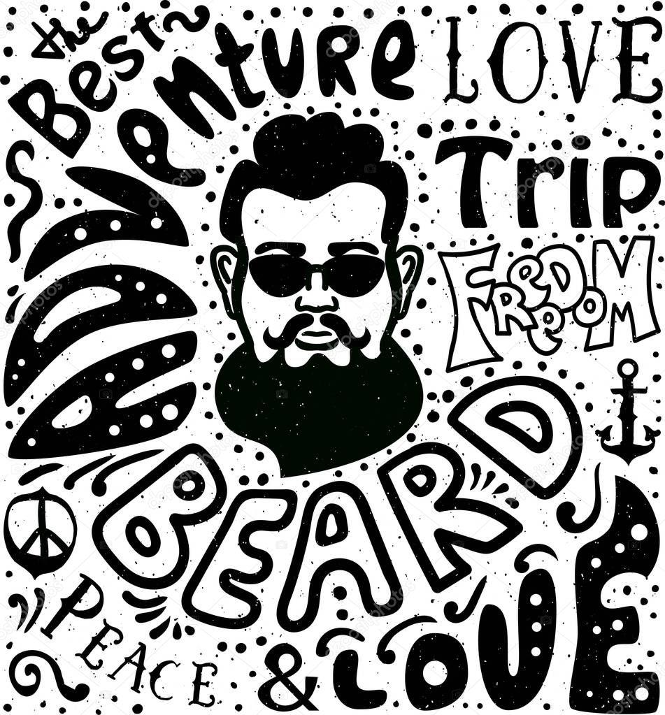 Hombre Barbudo Letras Dibujadas Mano Hipster Camiseta Tatuaje Letras