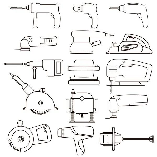 Power tools vector sketch — Stock Vector © lhfgraphics