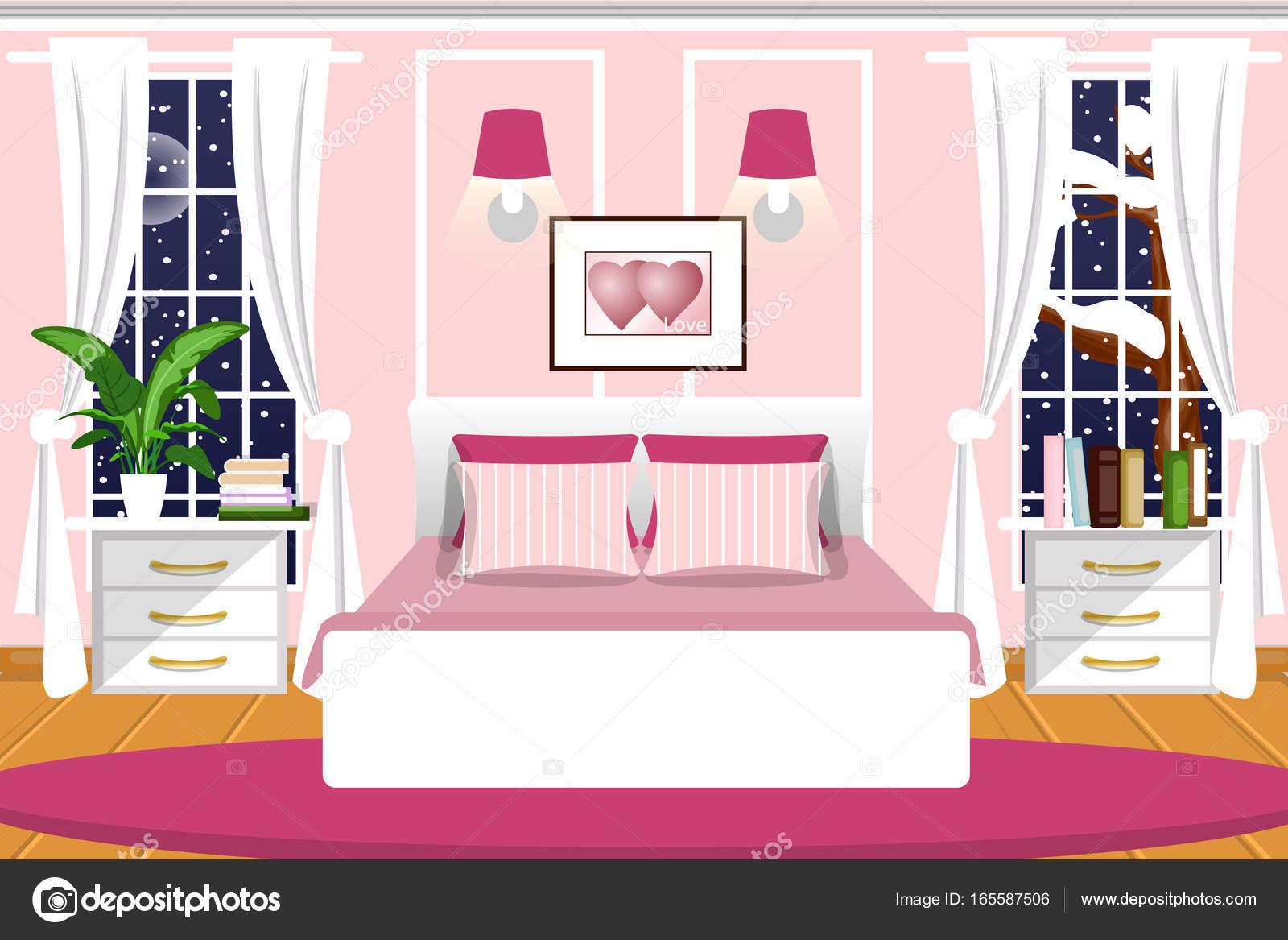 The Interior Of The Bedroom Vector Cartoon Night Landscape Outside The Window Stock Vector C Molnia26 165587506