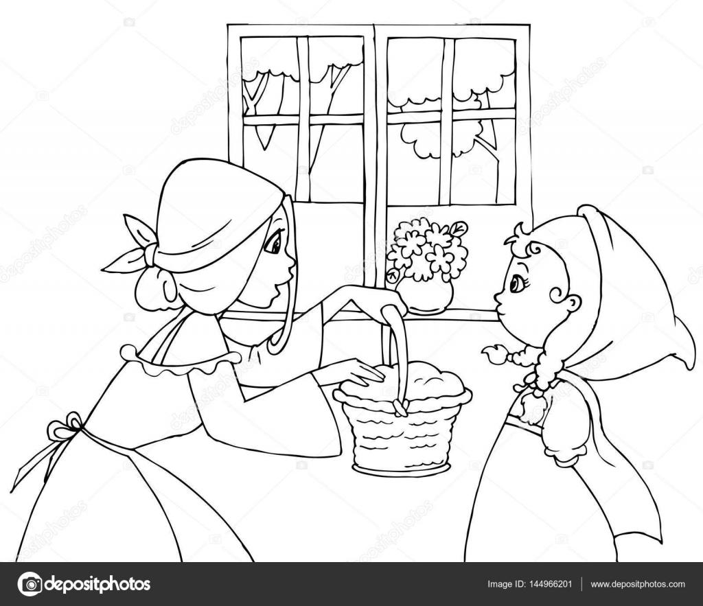 Disegni da colorare Cappuccetto rosso e la mamma