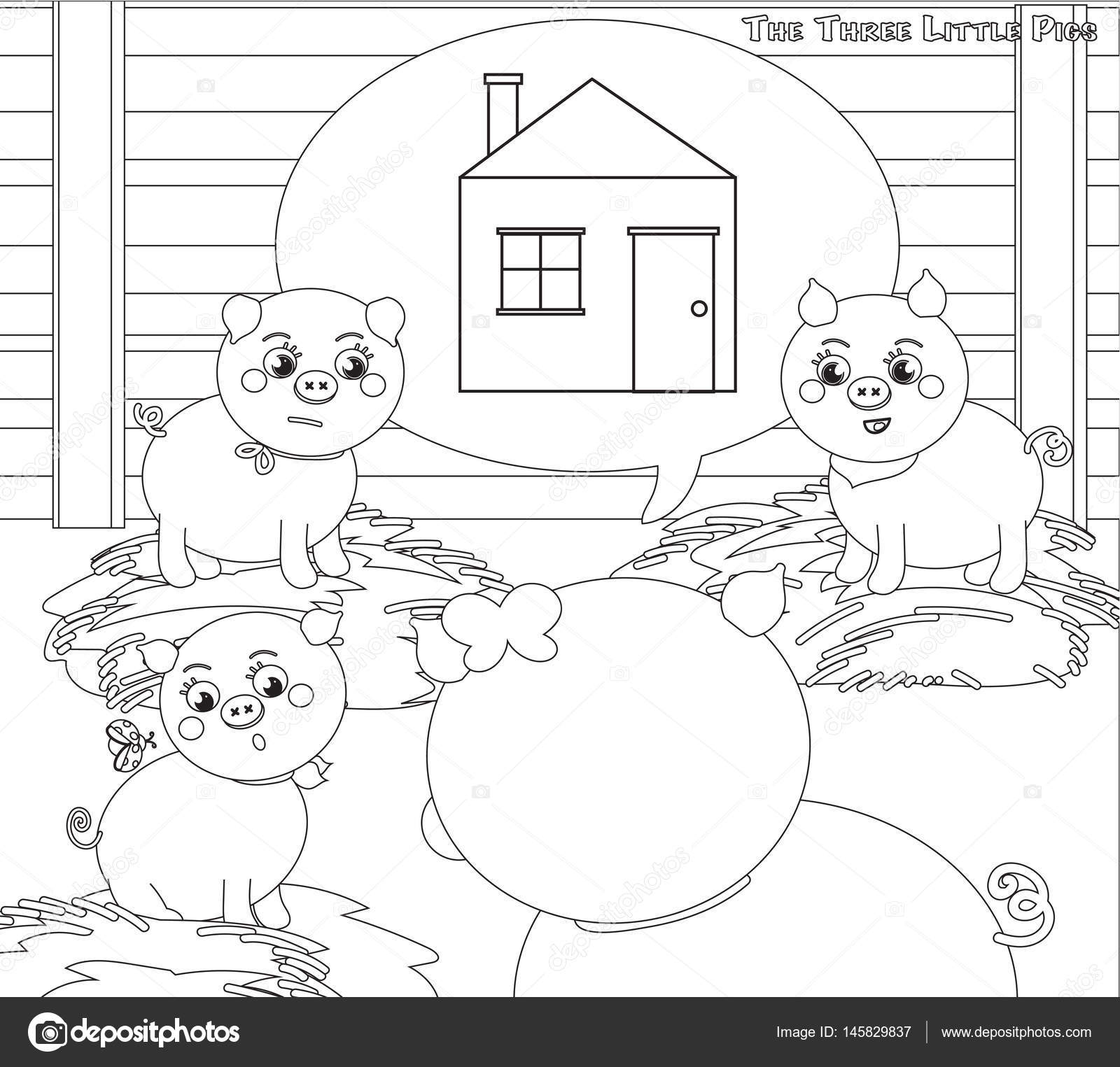 Coloring three little pigs 2. A new house — Stock Vector