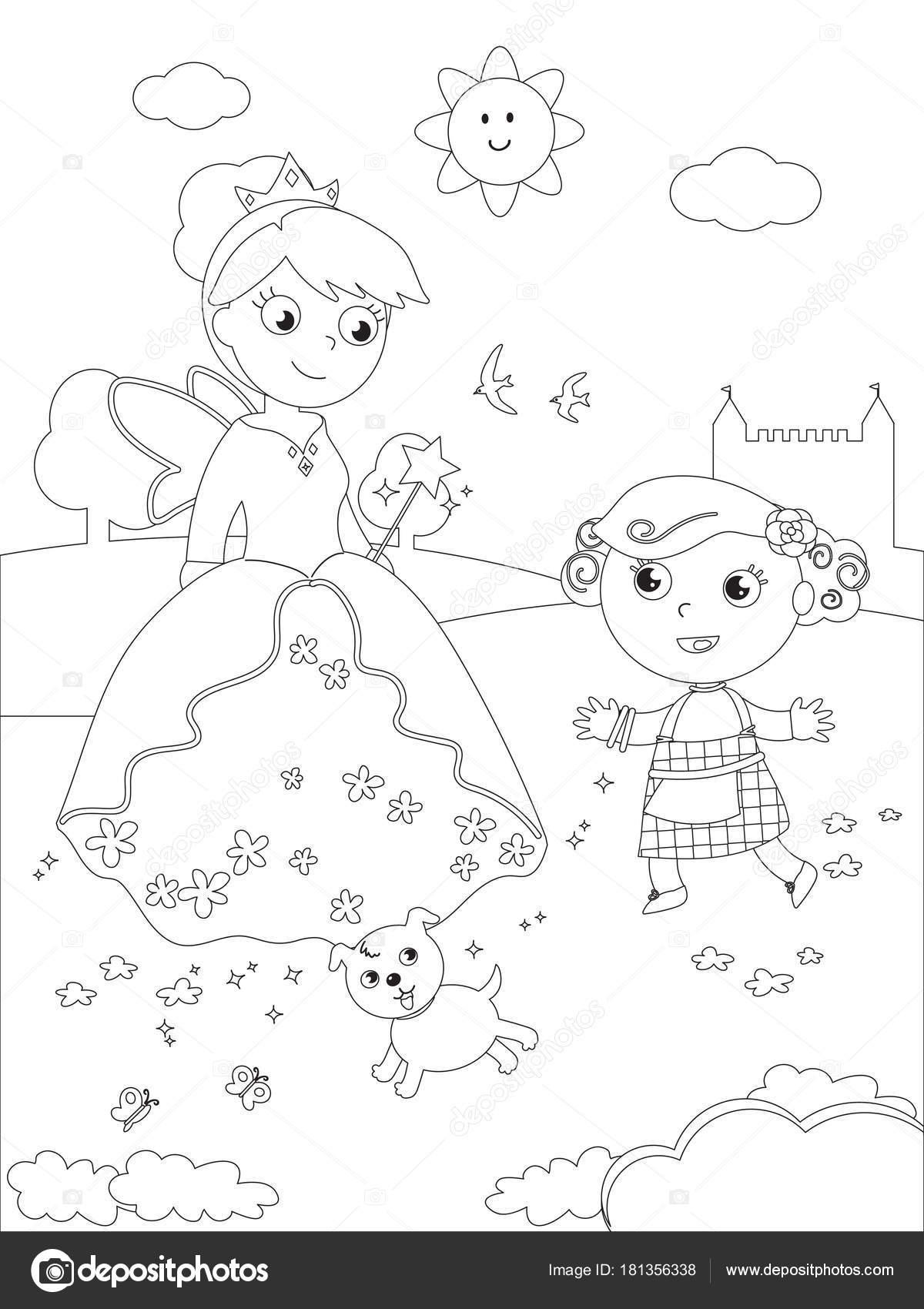 Coloração de mágico de Oz 07 Dorothy e Glinda — Vetor de