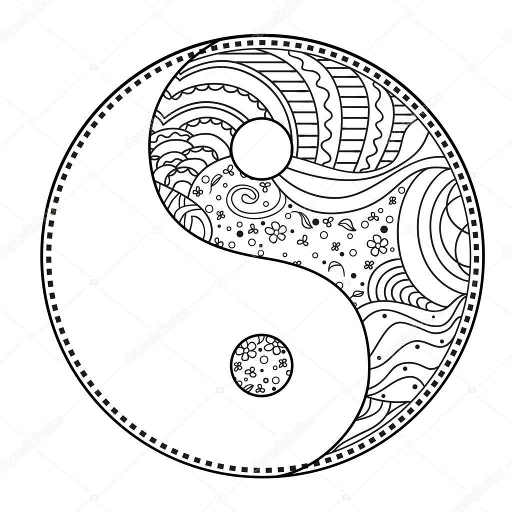 Yin und Yang. Zentangle — Stockvektor © MikaBesfamilnaya