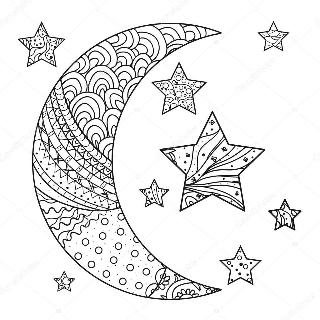 Zentangle Moon And Star With Abstract Patterns