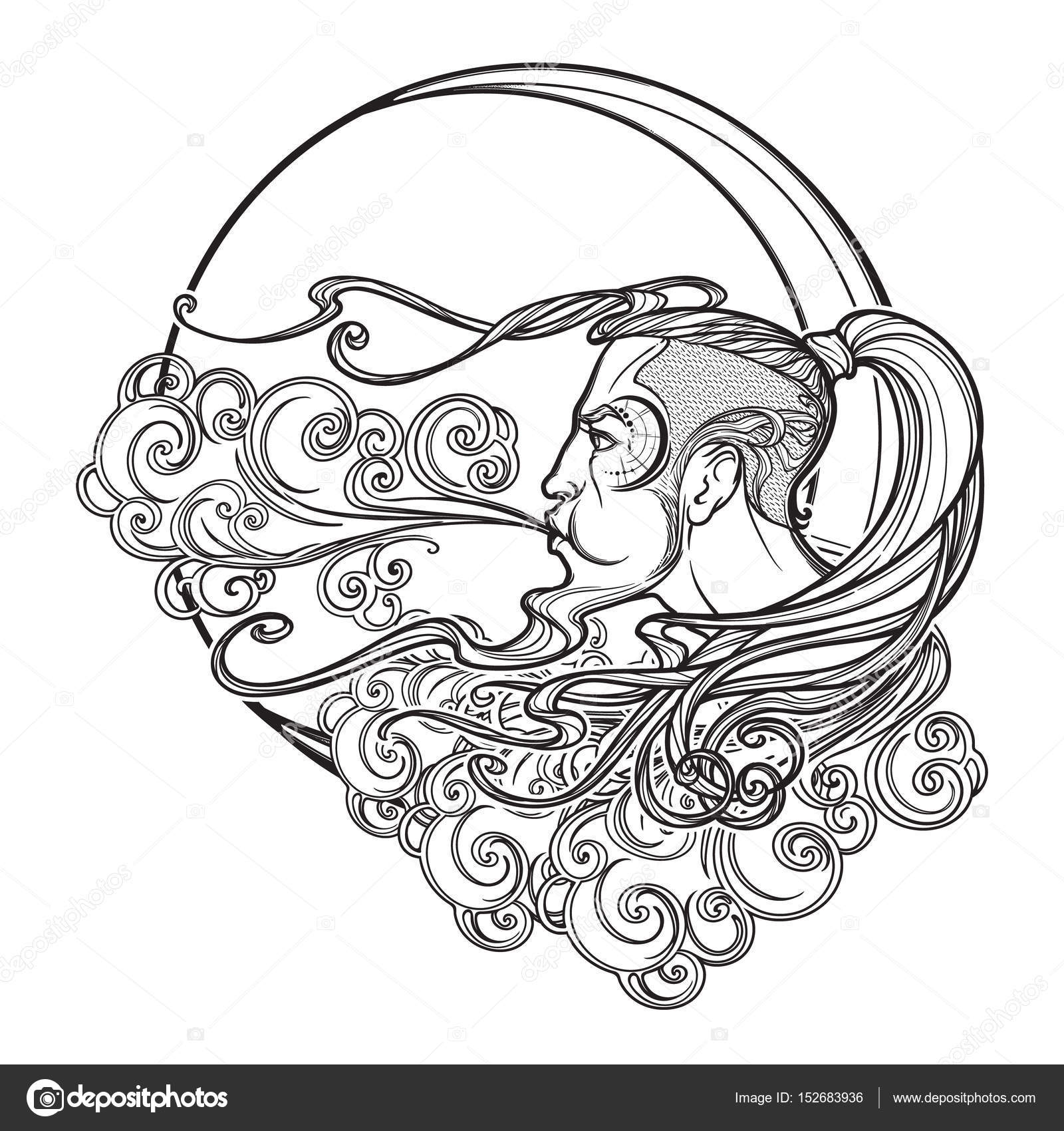 Antique style cartography Boreas wind icon. Male head