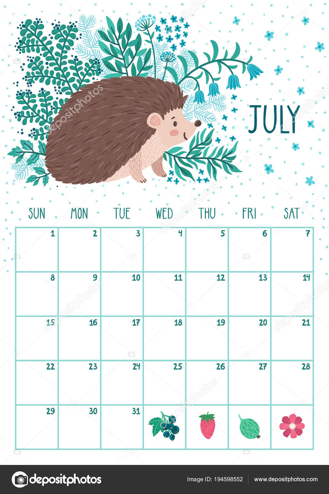 vector monthly calendar with