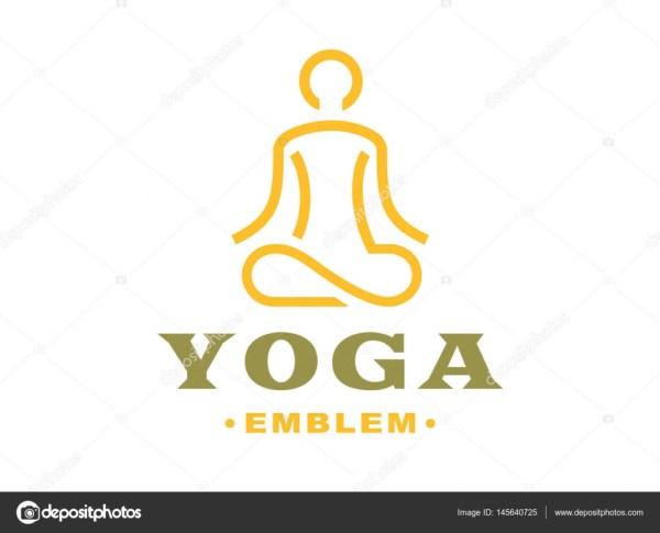 Outline Yoga Logo - Vector Illustration Emblem Light