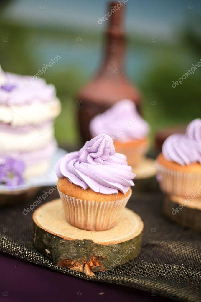 Tasty Purple Wedding Cake With Cupcakes Stock Photo Redkrysa