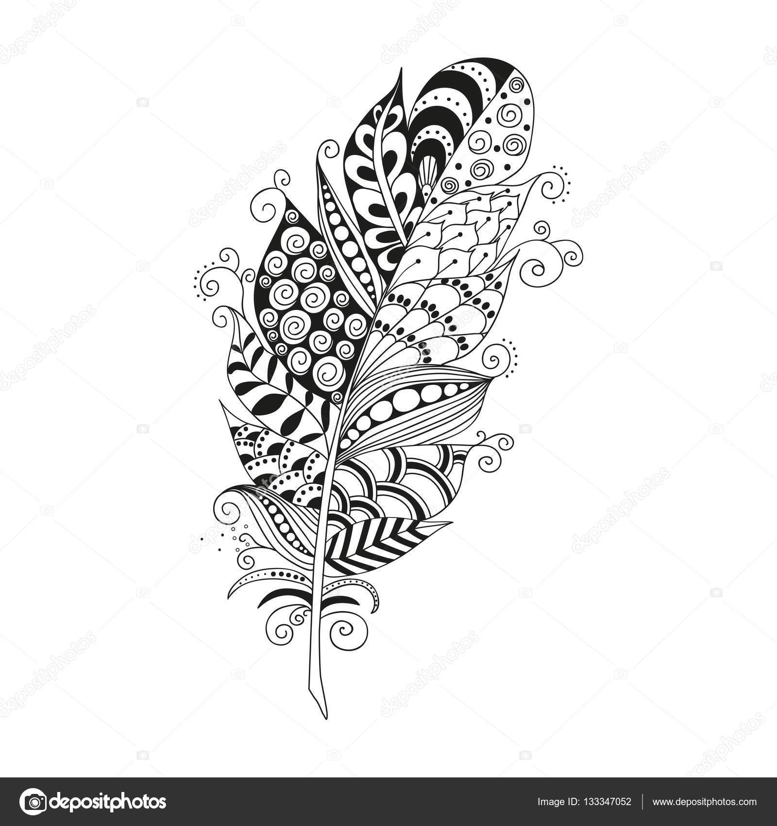 Handgezeichnete Zentangle-Feder auf weißem Hintergrund
