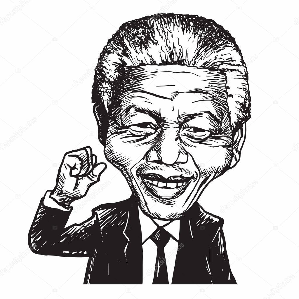 Nelson Mandela mão desenhada retrato caricatura ilustração