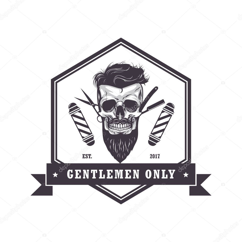 Cráneo Barber Shop Logo Hexagonal Retro Vintage diseño