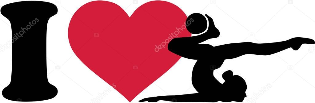 Download I love rhythmic gymnastics with ball — Stock Vector ...