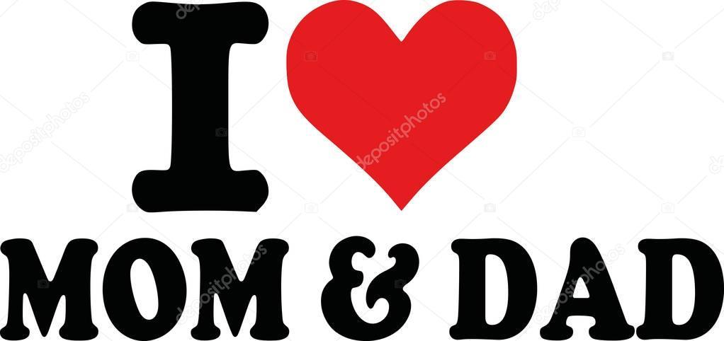 Download Amo a mi papa y mama | Te amo mamá y papá — Vector de ...