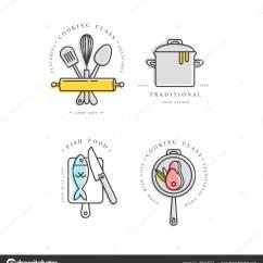 Kitchen Signs For Work Utensils 烹饪类线性设计元素 厨房标志 符号 图标或食品工作室标签和徽章 图标或食品工作室