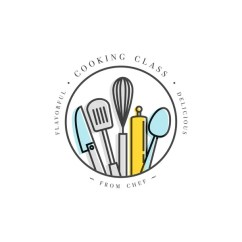 Kitchen Signs For Work Lowes Cabinets Sale 烹饪类线性设计元素 厨房标志 符号 图标或食品工作室标签和徽章