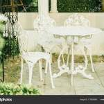 Empty White Outdoor Patio Table And Chair Stock Photo C Topntp 179936888