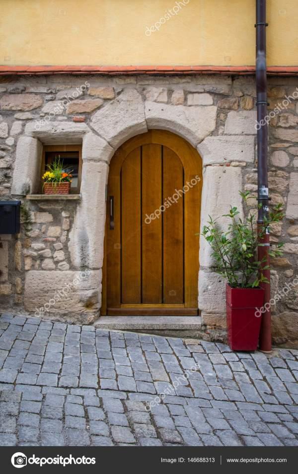 Vintage Cobblestone Alley Street Door Entrance Wooden