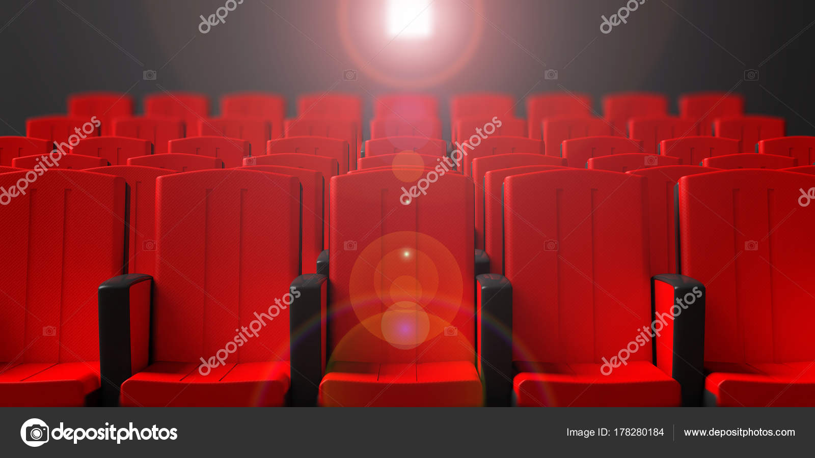 Cinema Chairs On Dark Background With Projection Light Front View 3d Illustration Stock Photo C Gioiak2 178280184