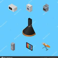Hood Kitchen Black Cabinet Knobs 等距技术组的炉子 布铁 厨房冰箱和其他矢量对象 此外包括冰箱 引擎 引擎盖 炉子元素 矢量图片gigavector