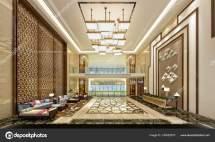 Render Luxury Hotel Entrance Lobby Stock