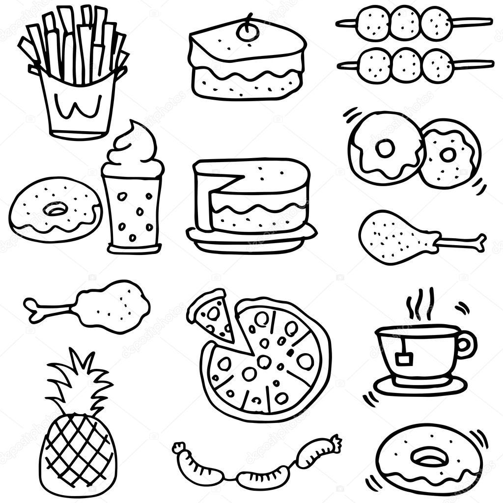 Doodle De Alimentos Pequeno Almoco Almoco Ou Jantar