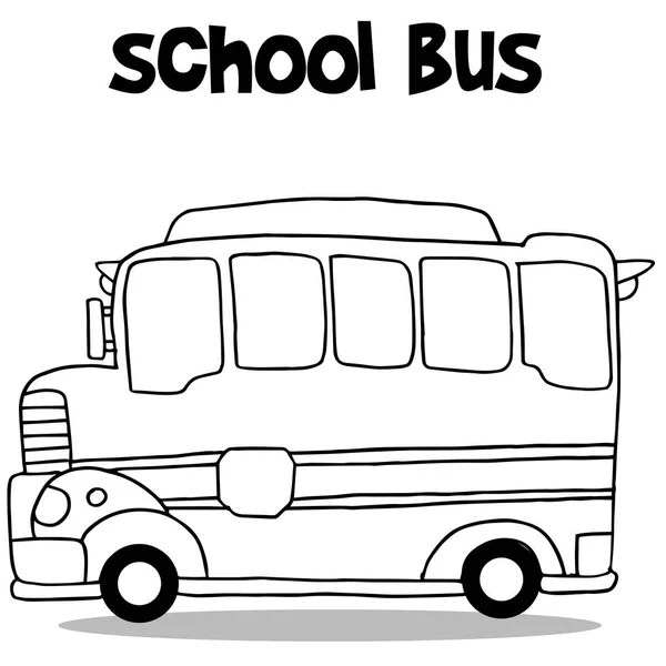 Coloring Page School Bus With Children — Stock Photo