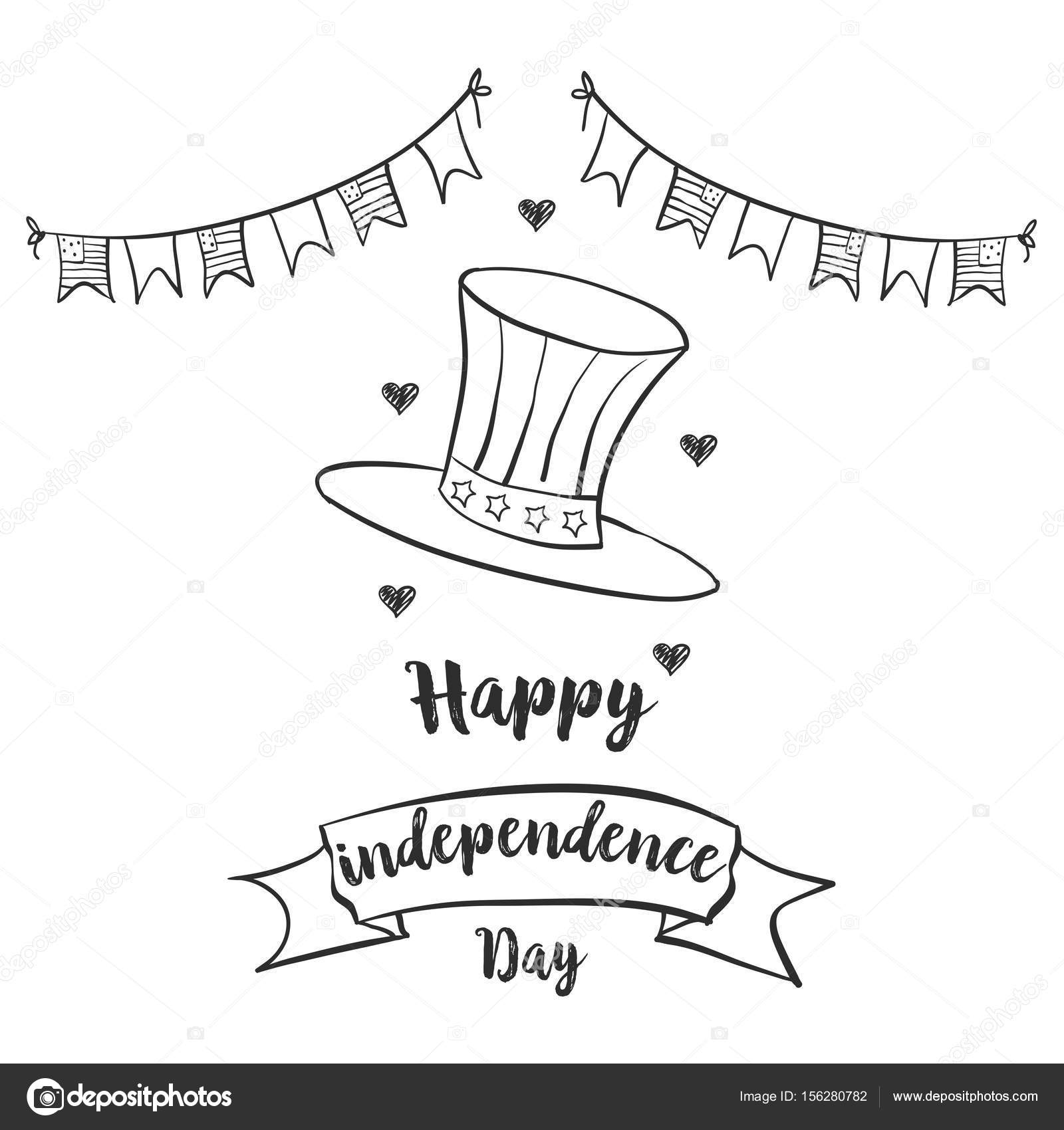 Happy independence day celebration hand draw — Stock