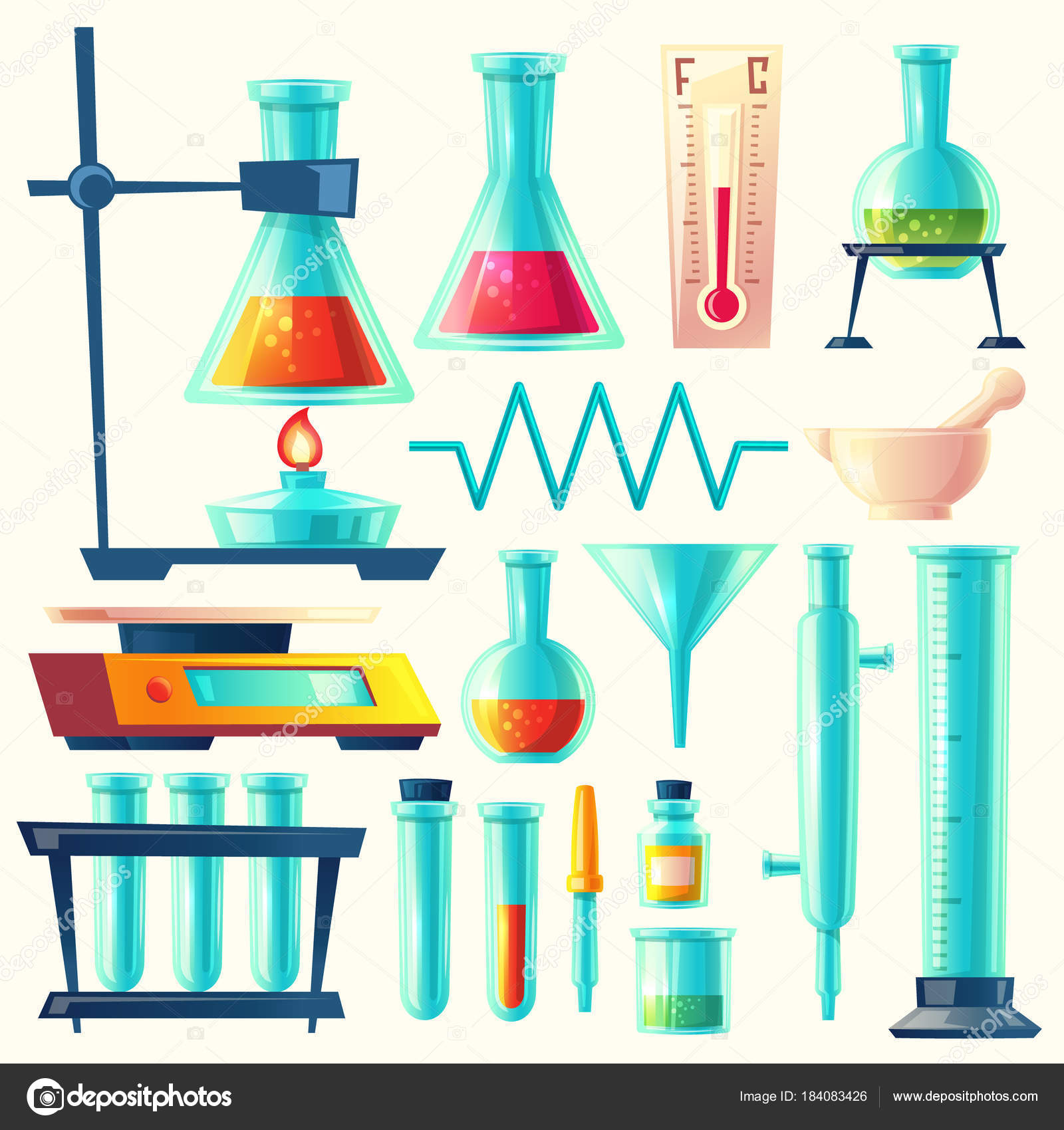 Vector Cartoon Laboratory Equipment Glassware Set