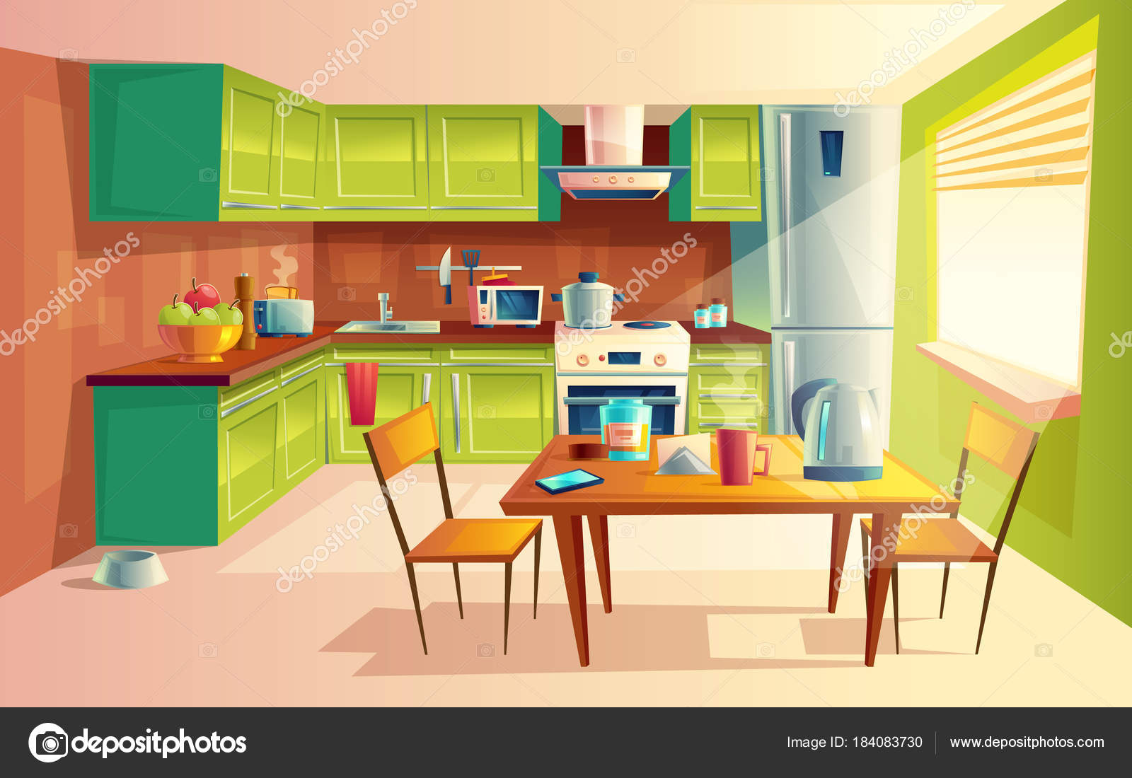 Imgenes cocinas modernas animadas  Ilustracin de