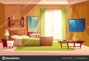 cartoon interior vector room living bed modern inside bedroom cozy double apartment furniture colorful animated dresser bookshelf carpet concept vectorpocket