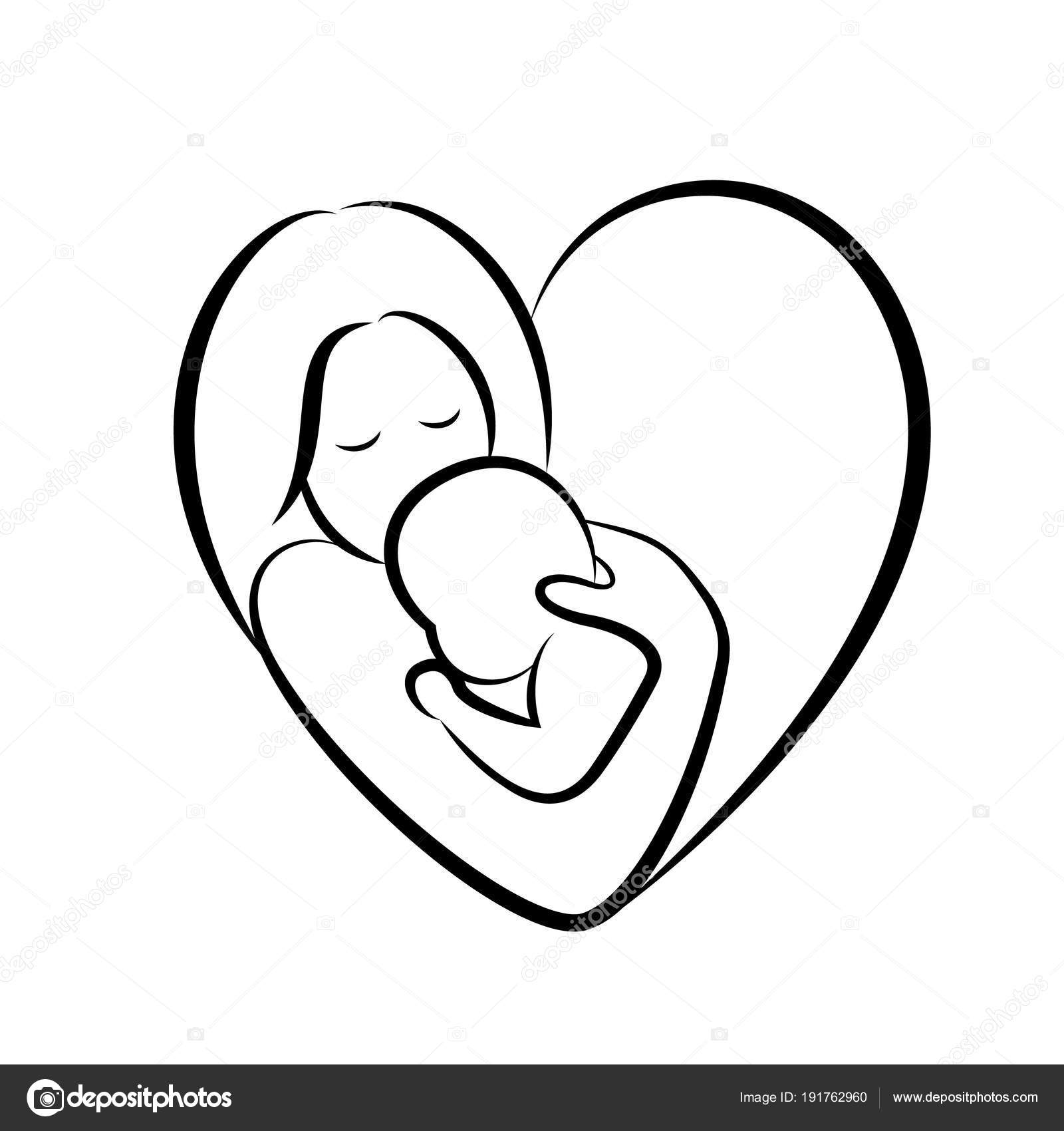 Mother Baby Stylized Vector Symbol Heart Shape Mom Hugs