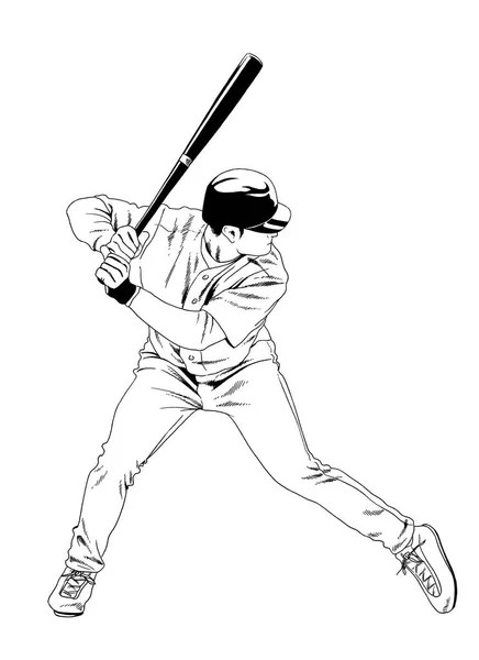 baseball player with a bat in the pose drawn with ink hand
