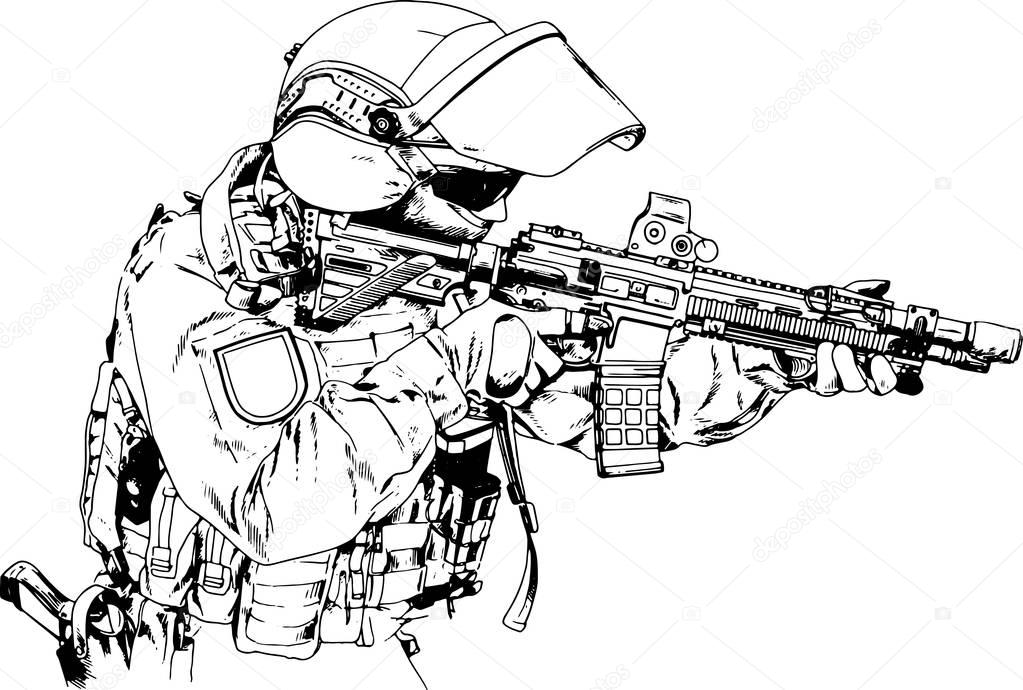 Soldiers Attack Gun Form Special Forces Drawn Ink Hand
