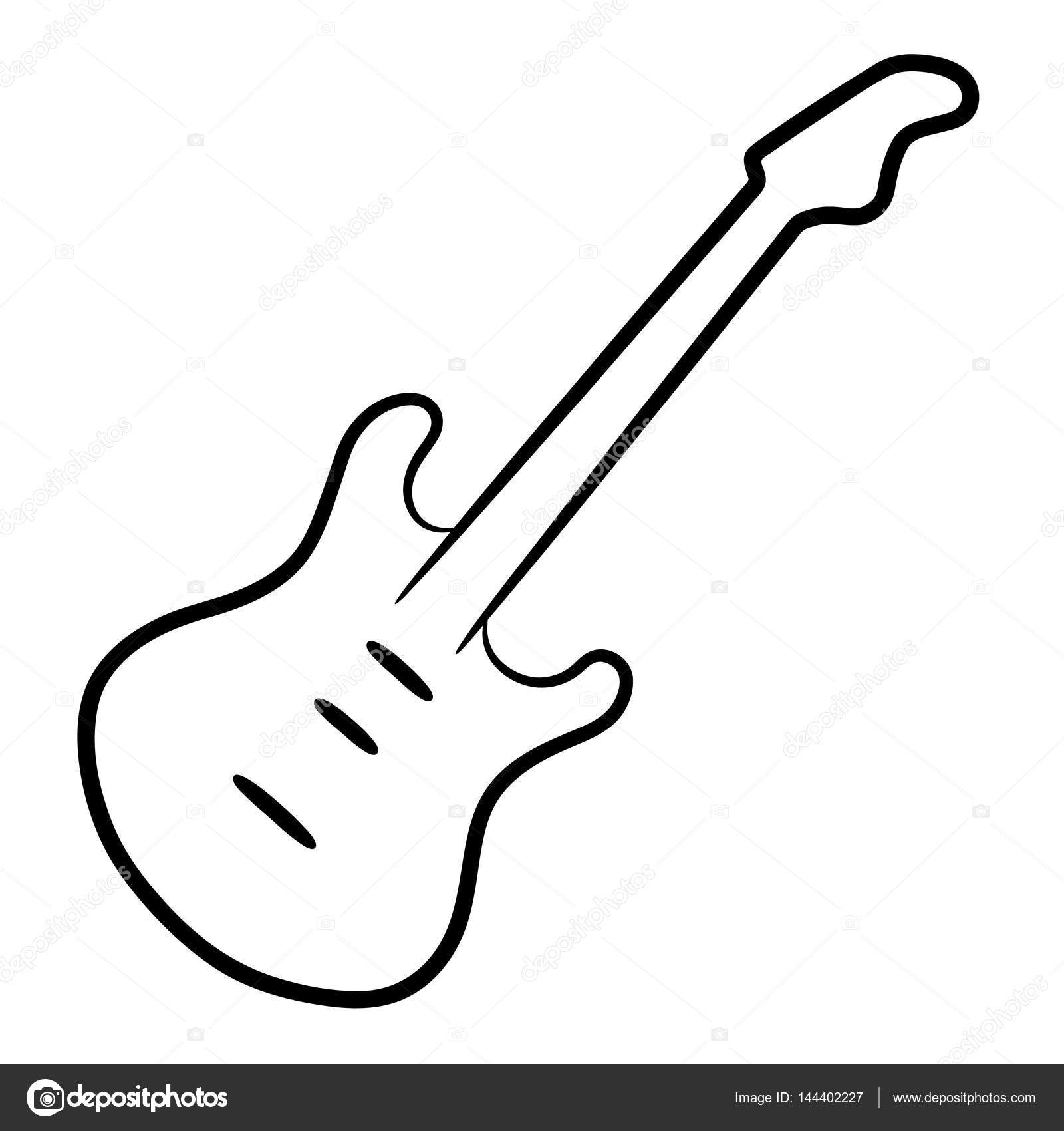 Electric Guitar Black Contour Lines On The White