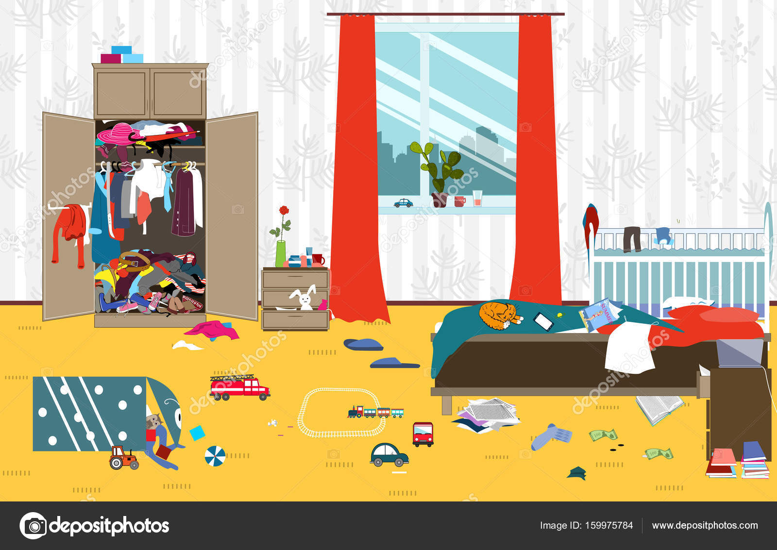 Messy room where young family with little baby lives
