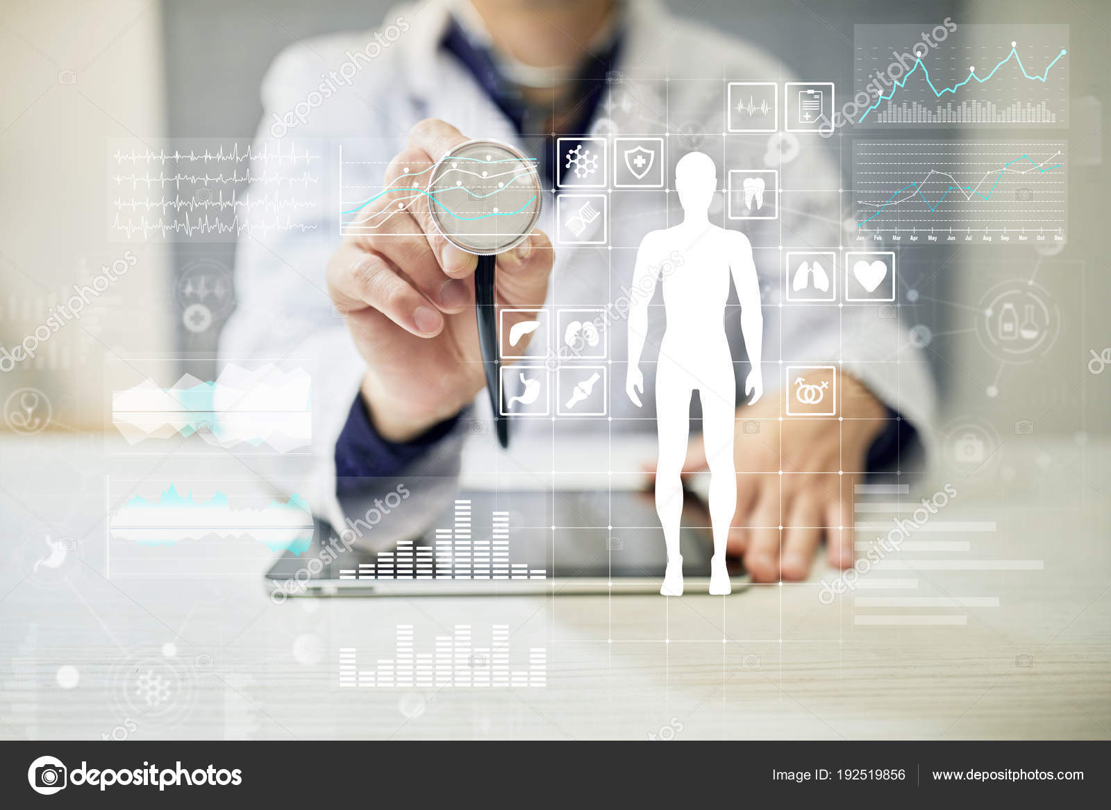 hight resolution of doctor using modern computer with medical record diagram on virtual screen concept health monitoring application photo by wrightstudio