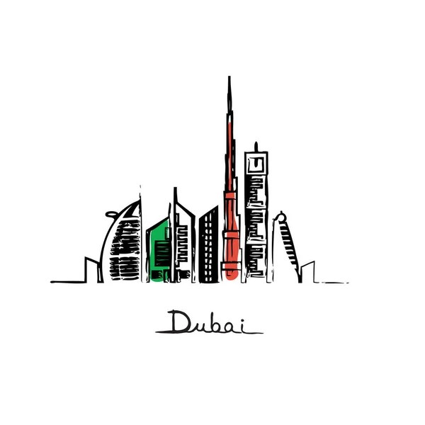 Dubai city in uae flag colors — Stock Vector