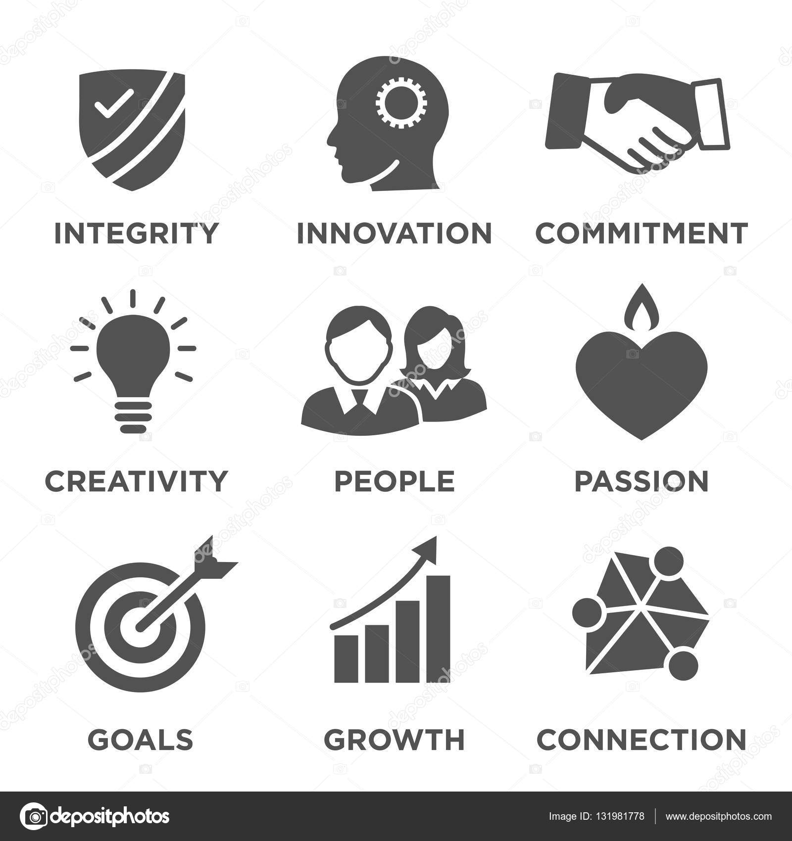 Company Core Values Solid Icons For Websites Or