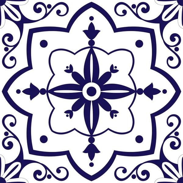 Vector de patrn de azulejos con adornos de flores azules y blancas Azulejo Portugus motivos mexicanos espaoles o marroques Fondo