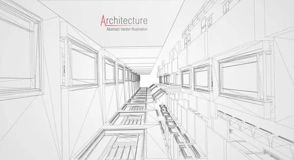 Modern architecture wireframe. Concept of urban wireframe