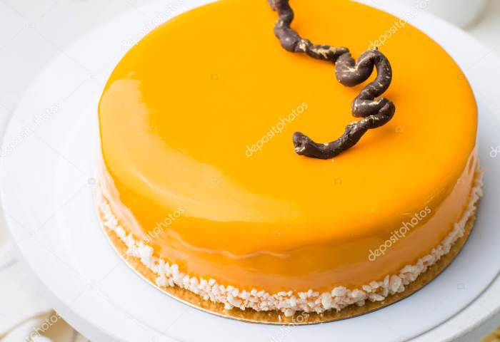 Photo Carrot Honey Mousse Cake Cafe Modern Cake Cut Piece Stock